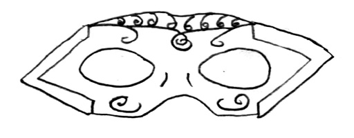 A masquerade mask with angle brackets